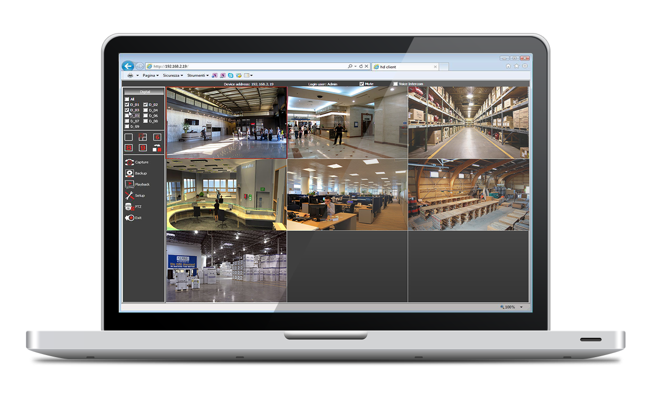 IP camera control by browser